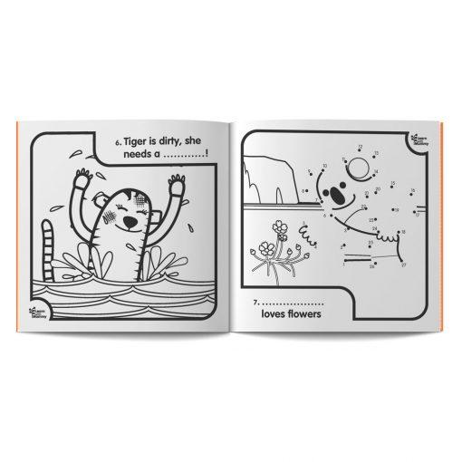 pagine dal libro da colorare in inglese per bambini Colour your World di Learn with Mummy, disegnato da Ardoq