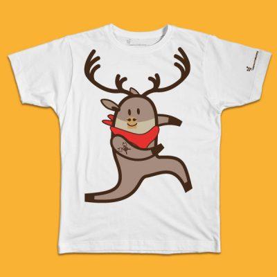 maglietta per bambino con il disegno di una renna, t-shirt for kids with a caribou, disegnata da Ardoq