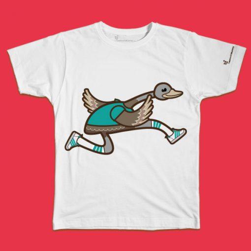 maglietta per bambino con il disegno di un emù che corre, t-shirt for kids with a running emu, disegnata da Ardoq