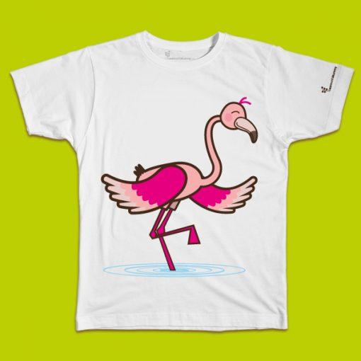 maglietta per bambino con il disegno di un fenicottero, t-shirt for kids with a Flamingo, disegnata da Ardoq