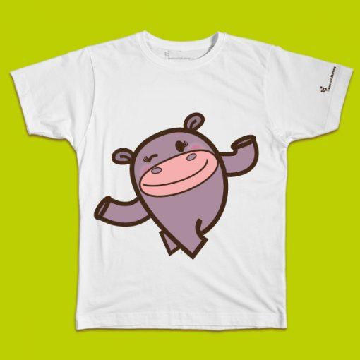maglietta per bambino con il disegno di un simpatico Ippopotamo, t-shirt for kids with a funny Hippo, disegnata da Ardoq