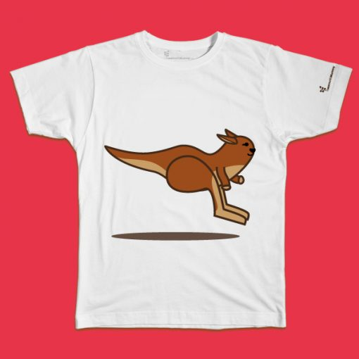 maglietta per bambino con il disegno di un canguro saltellante, t-shirt for kids with a jumping kangaroo, disegnata da Ardoq