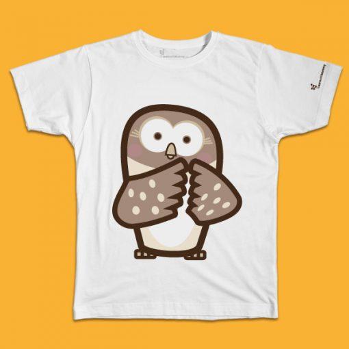 maglietta per bambino con il disegno di un gufo, t-shirt for kids with a owl, disegnata da Ardoq
