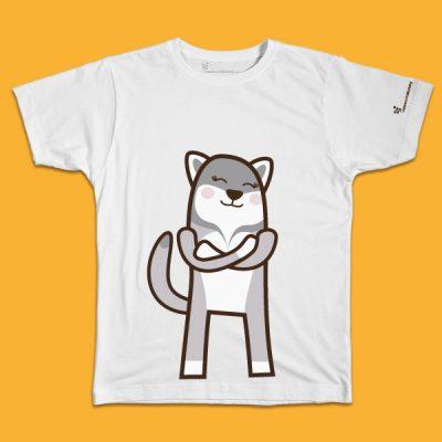 maglietta per bambino con il disegno di un lupo, t-shirt for kids with a WOLF, disegnata da Ardoq