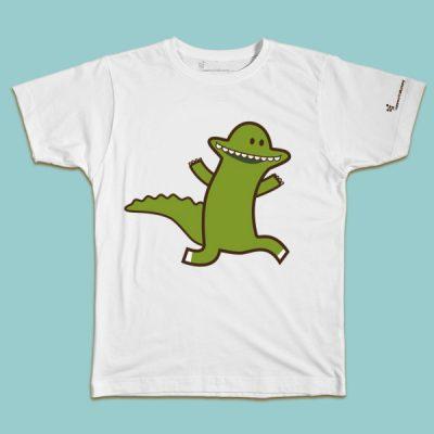 maglietta per bambino con il disegno di un coccodrillo verde, t-shirt for kids with a crocodile, disegnata da Ardoq