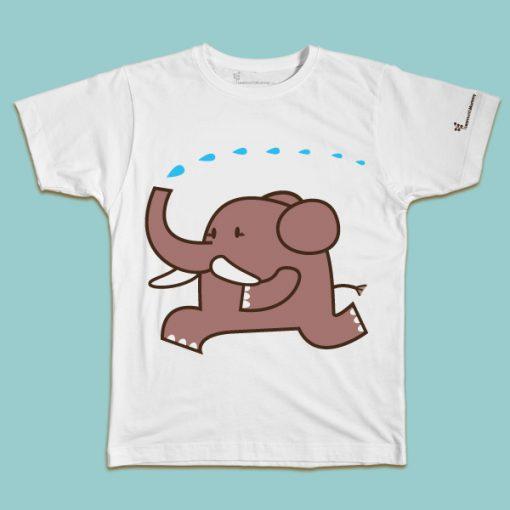 maglietta per bambino con il disegno di un elefante che corre, t-shirt for kids with a elephant, disegnata da Ardoq