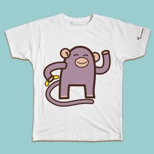 maglietta per bambino con il disegno di una simpatica scimmietta, t-shirt for kids with a monkey, disegnata da Ardoq