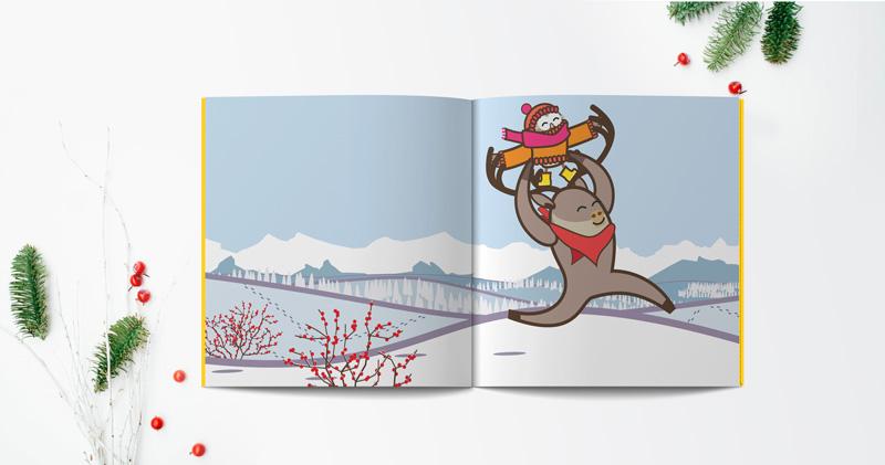 pagine del libro illustrato in inglese per bambini intitolato Ahhchoo della serie Learn with Mummy in the Rockies, scritto da Letizia Quaranta e illustrato da Ardoq, raffigurante due animali antropomorfizzati, un caribù che corre sulla neve tenendo sulle spalle un gufetto vestito con un maglione un cappello e una sciarpa