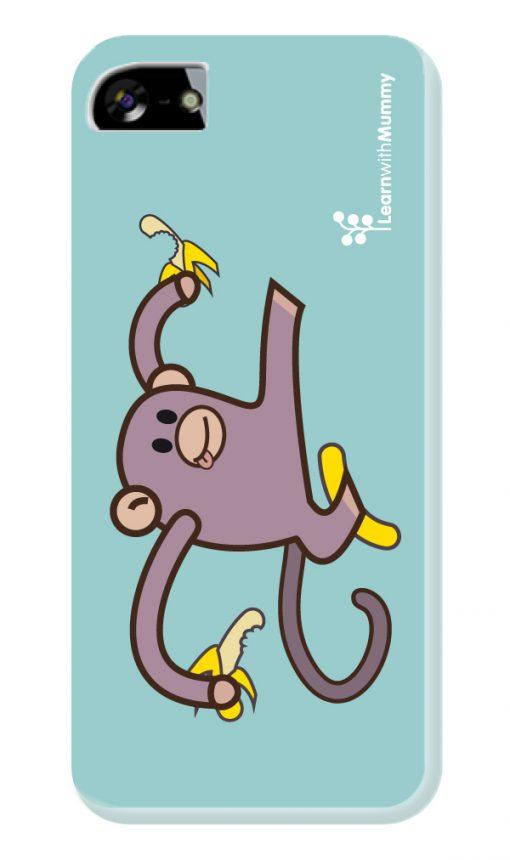 Smartphone cover in silicone con il disegno di Monkey, personaggio dei libri illustrati Learn with Mummy disegnato da Ardoq