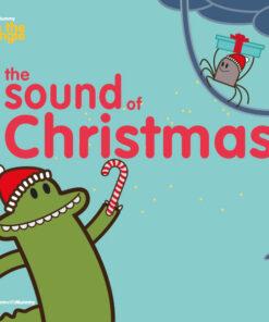 copertina del libro in inglese per bambini the sound of christmas, della collana Learn with mummy in the jungle, disegnato da Ardoq e scritto da Letizia Quaranta, con raffigurato un coccodrillo e un ragnetto
