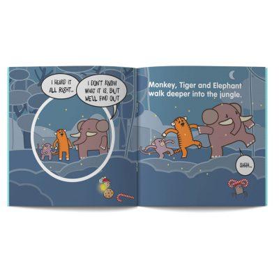 pagine 16 e 17 dal libro in inglese per Bambini The sound of Christmas disegnato da Ardoq per Learn with Mummy