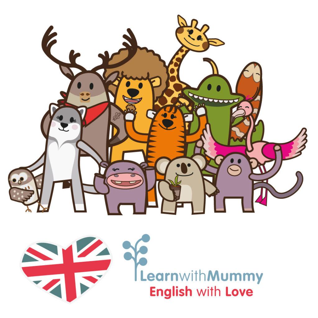 disegni dei personaggi dei libri in Inglese per bambini illustrati da Ardoq per Learn with Mummy