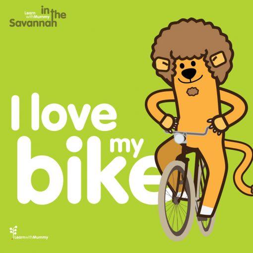 copertina del libro in inglese per bambini illustrato da Ardoq con un leone in bicicletta