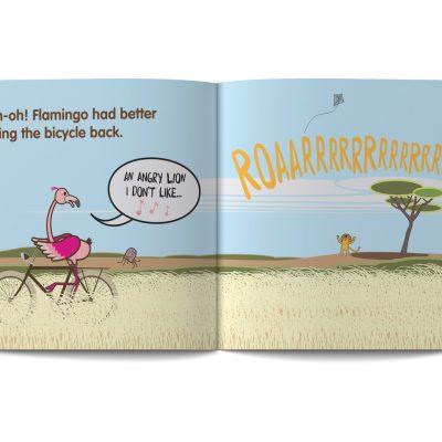 pagine dai libri in Inglese per abmbini edite da Learn with Mummy e illustrati da Ardoq, ambientati nella Savana